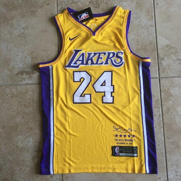 NBA Shirts   Kobe Bryant Lakers Xxl 24 Blk Mamba Yellow Jersey ...